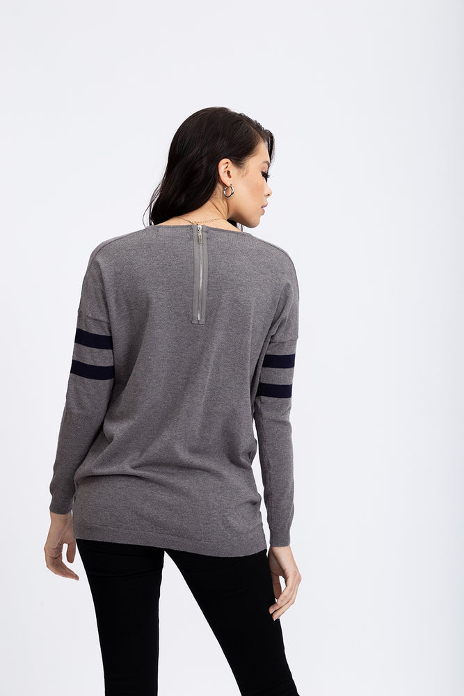 Divine Grace Dark Grey Jumper With Sparkly Star & Stripes