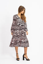 Liquorish A-Line Midi Dress In Black And Pink Animal Print