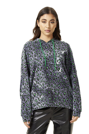 Green Animal Print Hoodie Sweatshirt in Grey