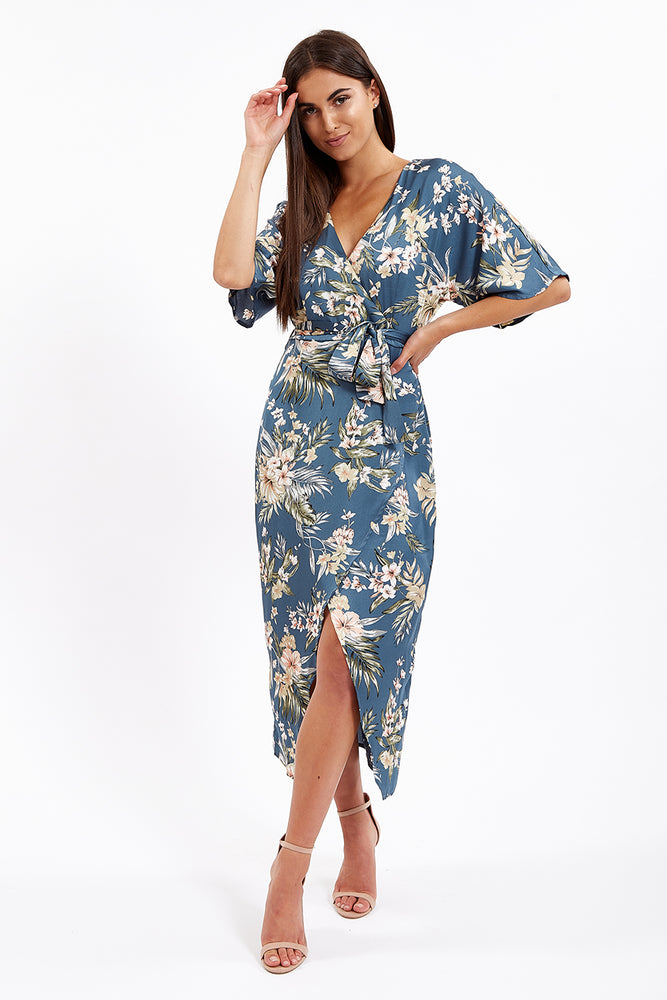 Divine Grace Blue Kimono Wrap Dress in Floral Print