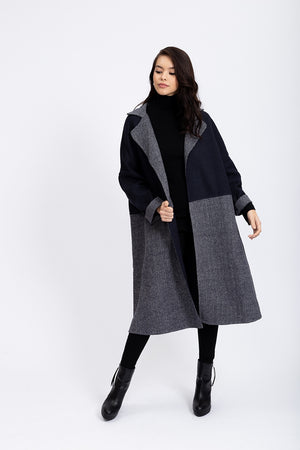 Liquorish Oversized Long Coat In Navy And Grey