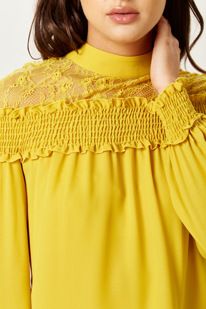 Divine Grace Mustard Top with Lace Details