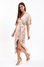Divine Grace Pink Kimono Wrap Dress in Floral Print