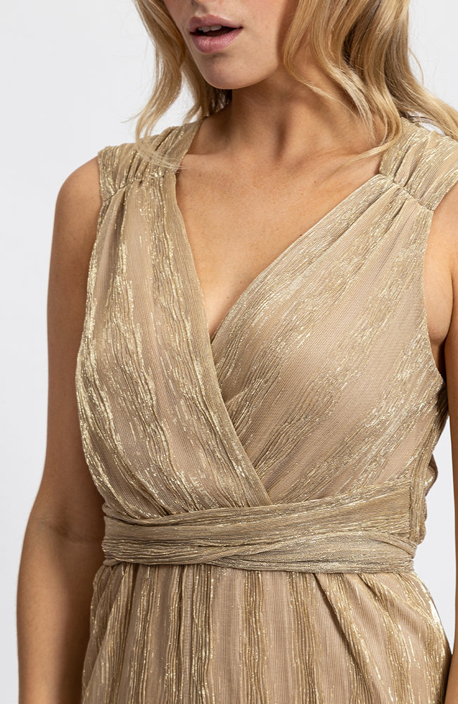 Liquorish Textured V-Neck Jumpsuit in Gold Champagne