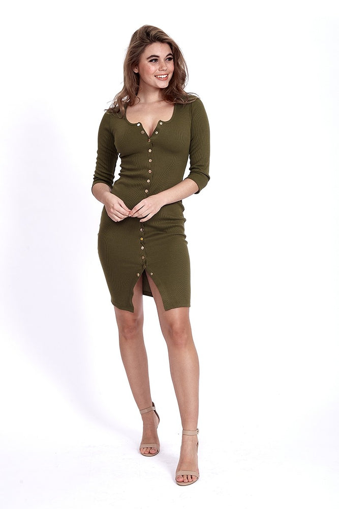 Liquorish Jersey Button up Midi Dress in Khaki