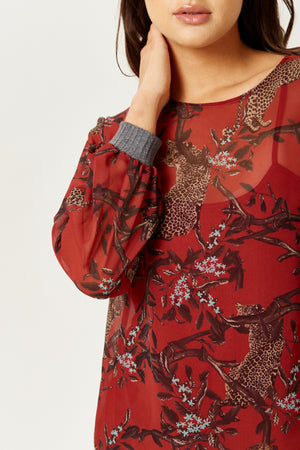 Divine Grace Leopard Print Top in Red