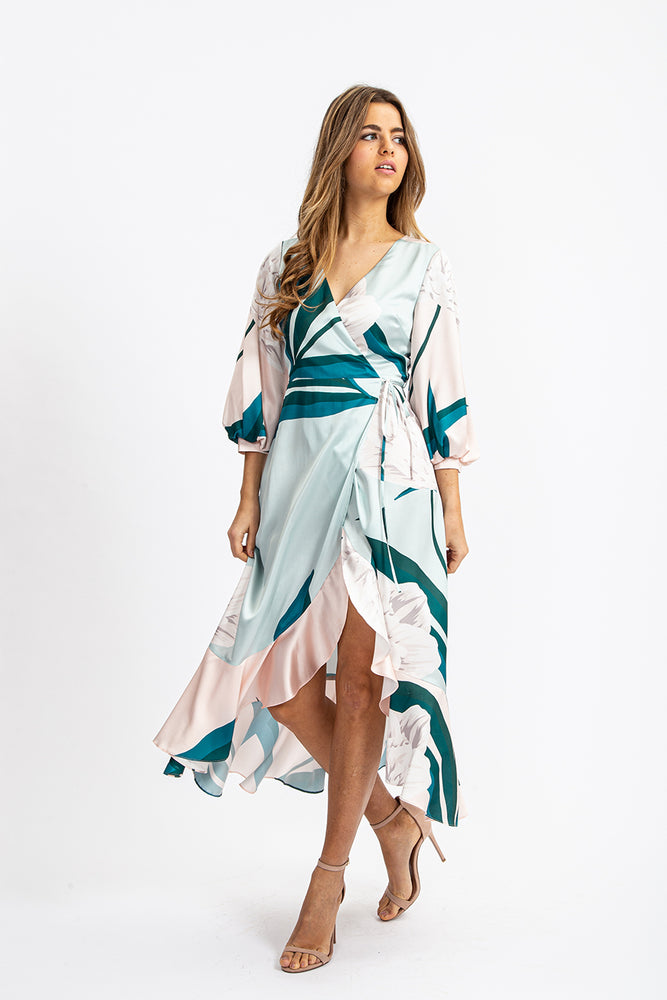 Liquorish Midi Wrap Dress in Overscaled Floral with Contrast Frill and Balloon Sleeve