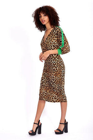 Divine Grace Midi Dress In Leopard Animal Print With Green Tapes On Sleeves