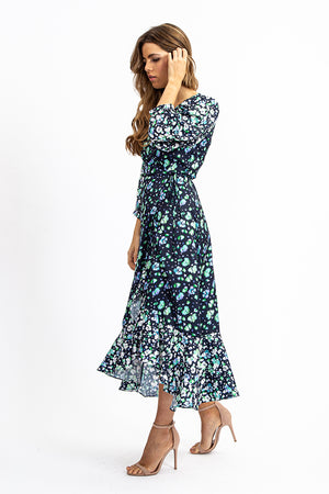 Liquorish Maxi Wrap Dress in Navy Floral with Contrast Hem and Balloon Sleeve