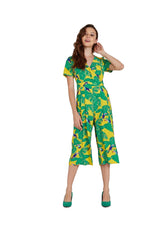 Rock Kandy Wide Leg Jumpsuit In Yellow Leaf Print