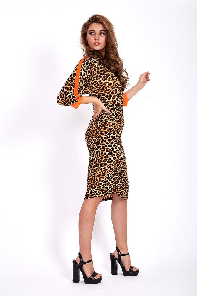 Divine Grace Midi Dress In Leopard Animal Print With Orange Tapes On Sleeves
