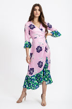 Liquorish Maxi Wrap Dress With Contrast Hem in Pink and Green Overscaled Floral Print
