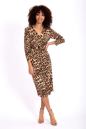 Divine Grace Midi Shirt Dress With Twisted Front In Animal Print