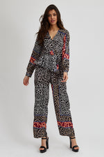 Liquorish Wide Leg Jumpsuit in Mixed Animal Print