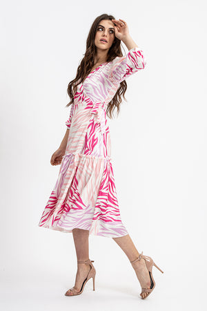 Liquorish Midi Wrap Dress With Frill Hem in Pink Zebra Print