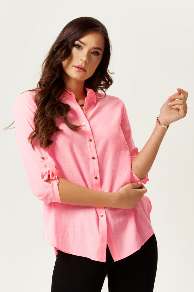Pink Shirt with Gold Buttons