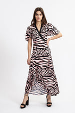 Liquorish Asymmetric Maxi Dress In Pink Animal Print With Frill And Ruches