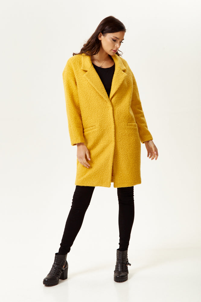 Liquorish Bouclè Coat in Mustard Yellow