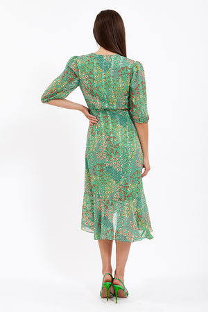 Liquorish Green Wrap Front Midi Floral Dress