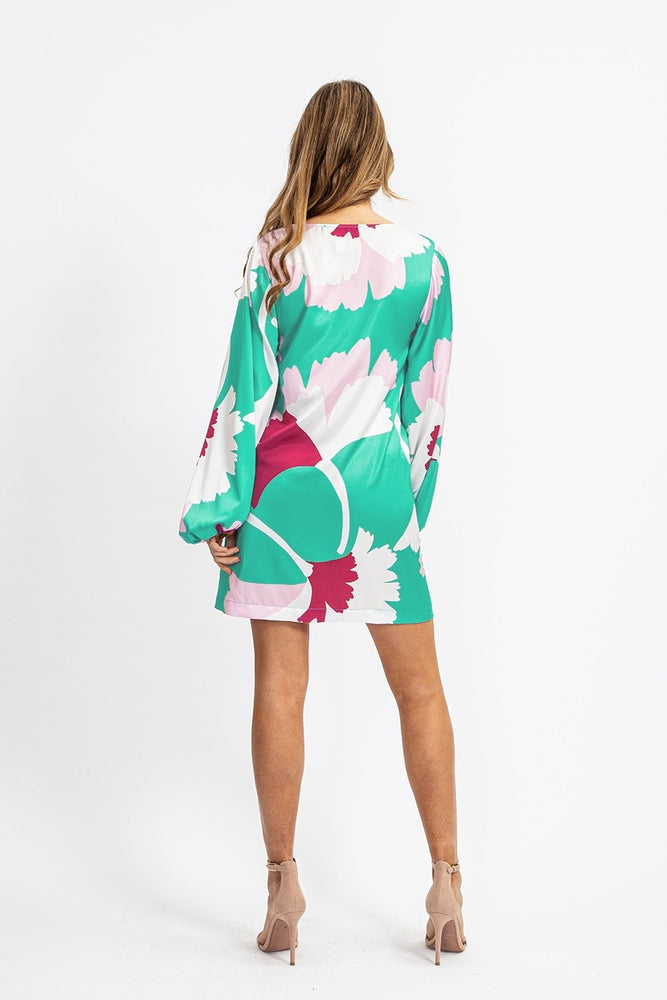 Liquorish Mini Dress In Overscaled Graphic Flowers Print
