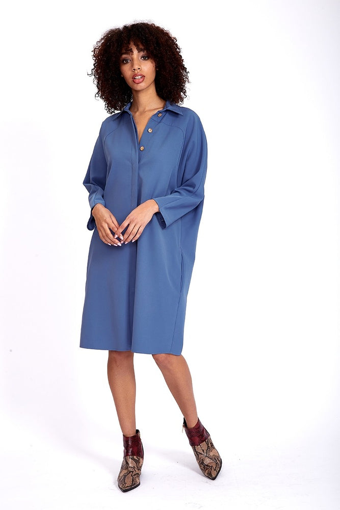 Liquorish Midi Shirt Dress In Blue