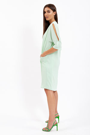 Divine Grace Turquoise Relaxed Fit Midi Dress With Pockets