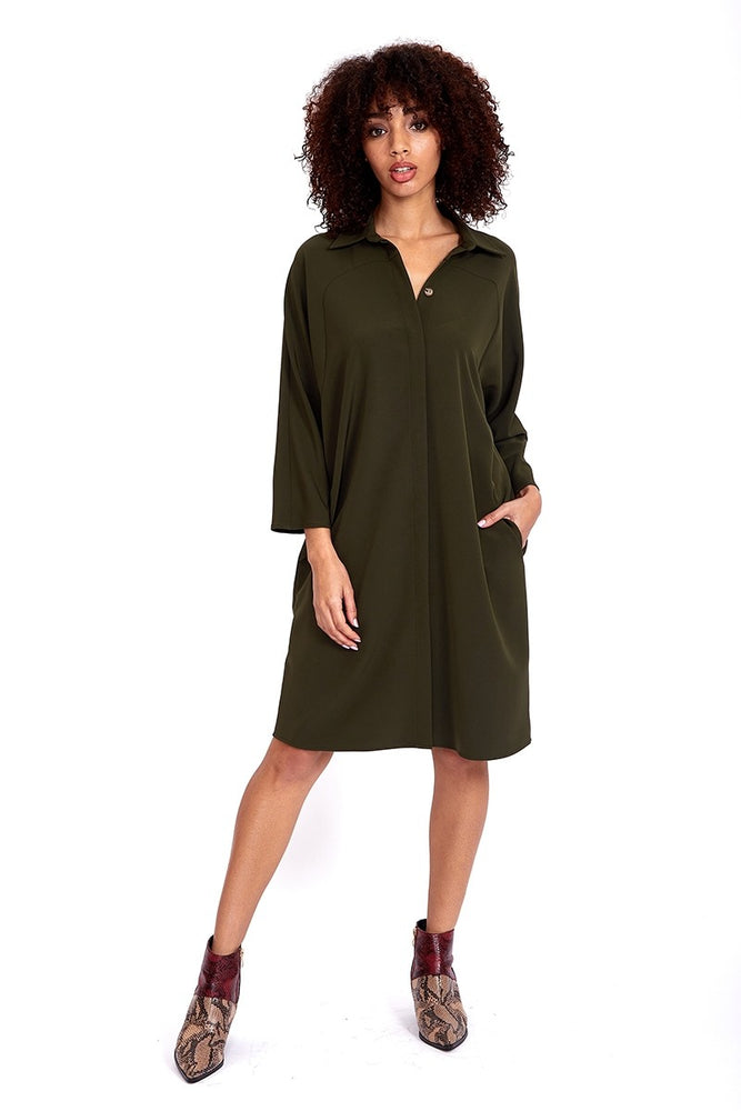Liquorish Midi Shirt Dress In Khaki