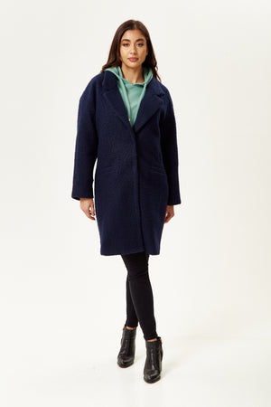 Liquorish Bouclè Coat in Navy
