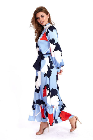 Liquorish Maxi Smock Dress In Blue Abstract Floral Print