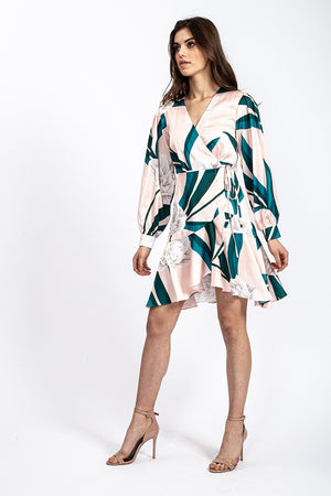 Liquorish Mini Wrap Dress In Overscaled Floral Print