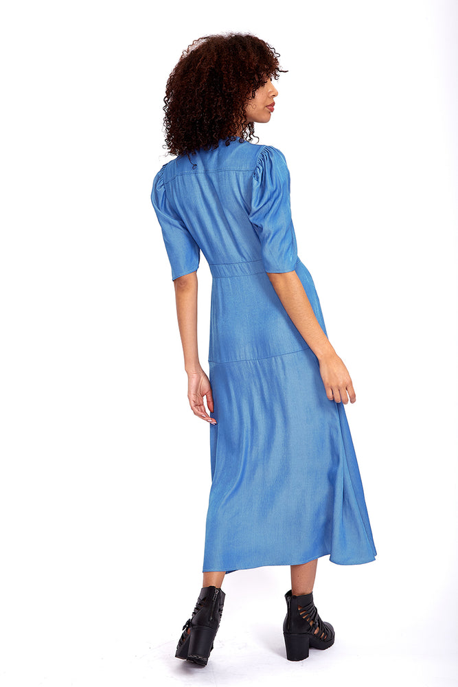 Liquorish Button Up Maxi Dress in Indigo