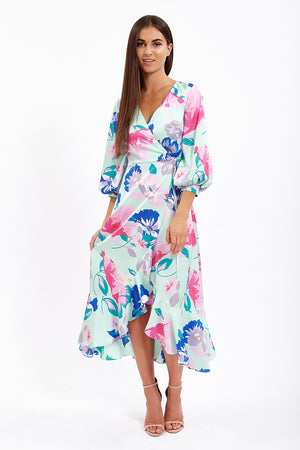 Liquorish Turquoise Midi Wrap Dress in Pink Floral