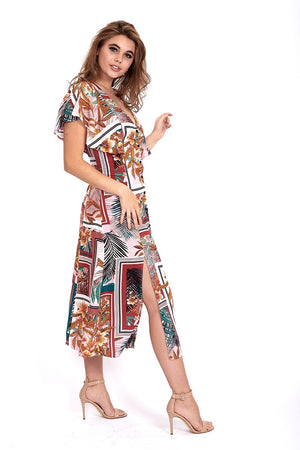 Divine Grace Ruffle Sleeve Midi Dress In Tropical Scarf Print