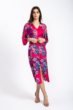 Liquorish Kimono Midi Dress with Open Back in Fuchsia Oriental print