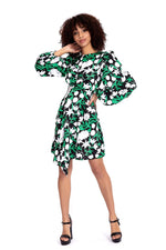 Liquorish Asymmetric Mini Dress In Green Floral Print with Puffed Shoulder