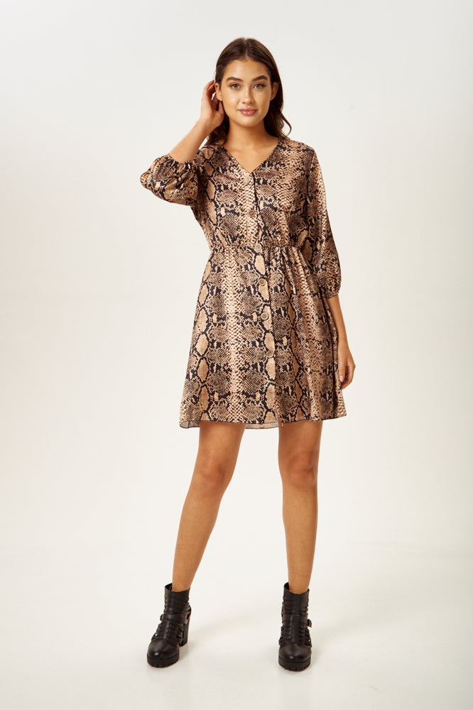 Rock Kandy Snake Skin Button Front Mini Dress in Brown