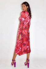 Midi Dress in Floral and Animal Contrast Print with Waist Wrap Detail