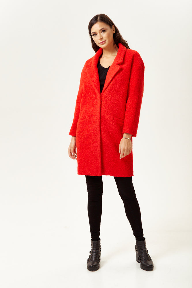 Liquorish Bouclè Coat in Red
