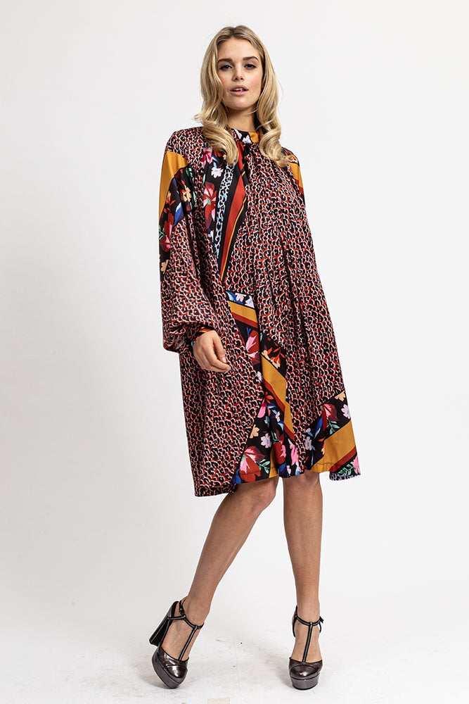 Liquorish Oversized Mini Dress in Burnt Red Mixed Floral and Animal Print