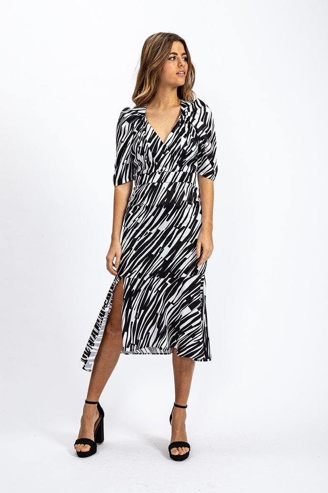 Liquorish Midi Dress With Asymmetric Frill in Black and White Abstract Animal Print