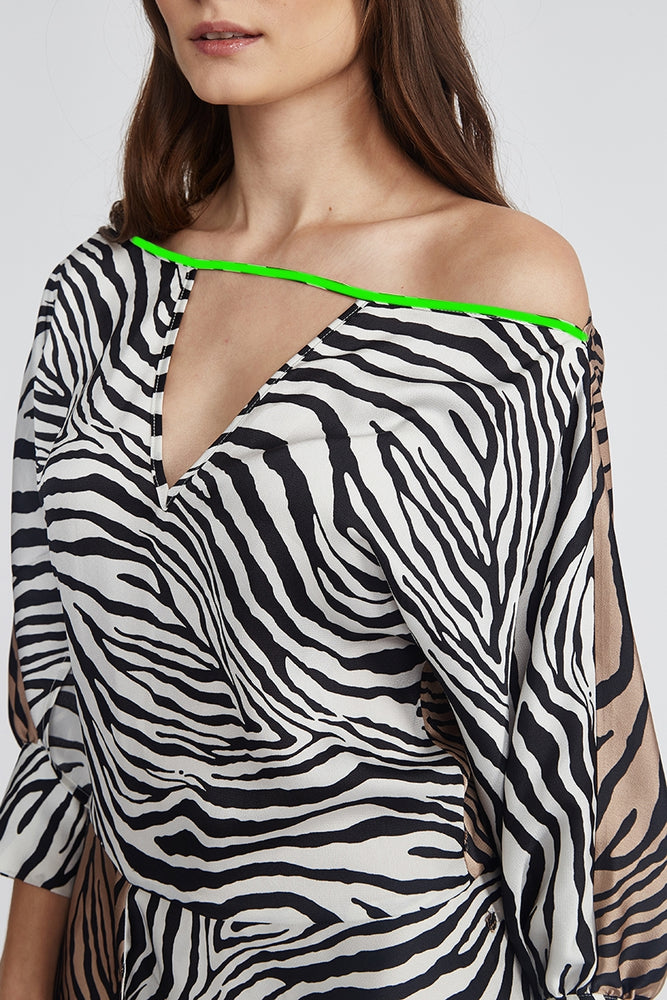 Liquorish Asymmetric Midi Dress in Zebra Print