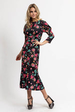 Liquorish Midi Dress with Balloon Sleeves in Polka Dot and Floral Print