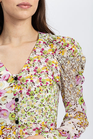 Liquorish Button-Up Mini Dress in Lurex Floral Print with Rushed Sleeves