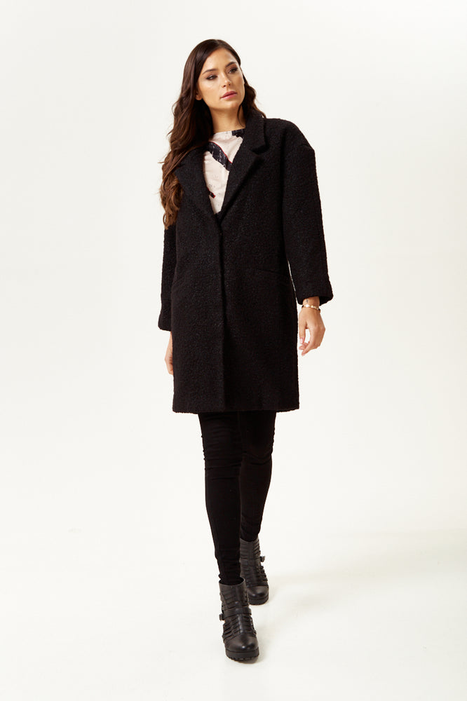 Liquorish Bouclè Coat in Black