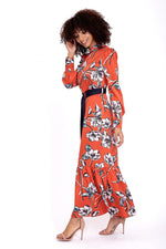 Liquorish Maxi Dress In Red Floral with Ruffle Hem and Contrast Belt