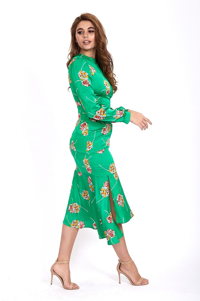 Liquorish Midi Dress With Asymmetric Frill in Green Floral Print
