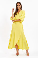 Liquorish Yellow Balloon Sleeve Maxi Wrap Dress