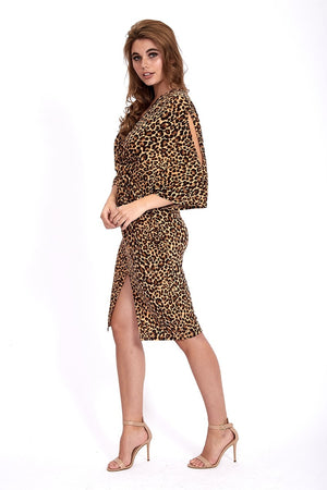 Liquorish Jersey Midi Dress With Twisted Front And Kimono Sleeve in Animal Print