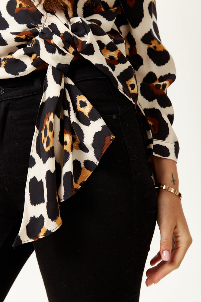 Divine Grace Tie Top in Animal Print with Long Sleeves