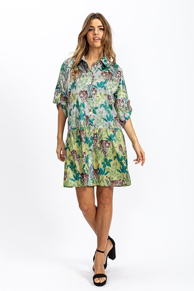 Liquorish Oversized Mini Shirt Dress In Tiger Print with Contrast Hem